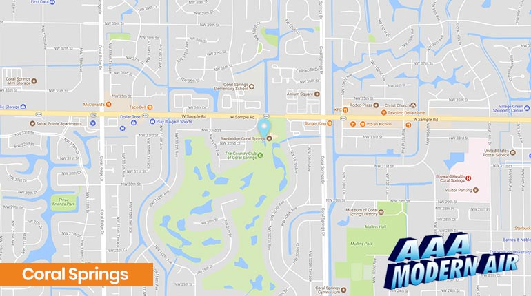 Map Of Coral Springs Florida.Coral Springs Air Conditioning Repair Installation Ac Services